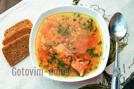 суп из нута с копчеными ребрышками