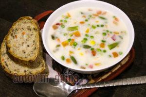 Суп с плавленным сыром и рисом