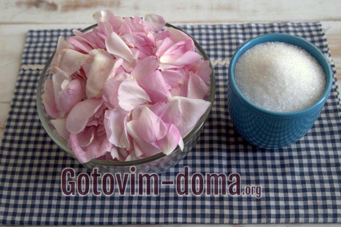 Ингредиенты для варенья из розы