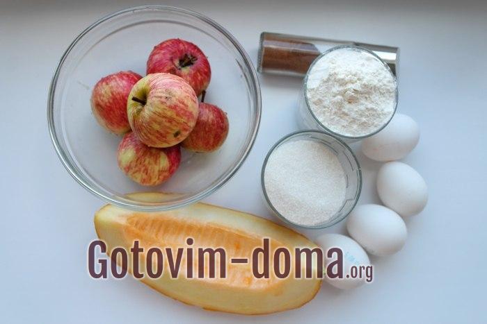 Продукты для шарлотки с дыней и яблоками