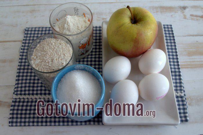 Продукты для шарлотки овсяной с яблоками