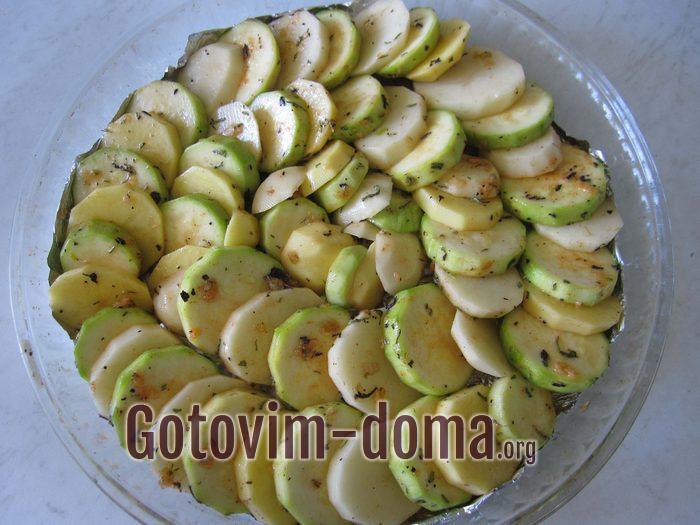 В форму выложены овощи для запекания