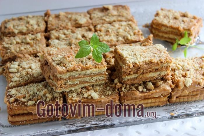 Торт из печенья и сгущенки без выпечки рецепт с фото
