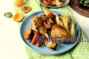 Запеченное куриные ножки в духовке с абрикосами