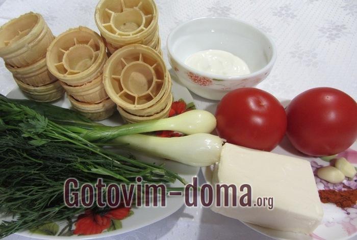 Тарталетки, помидоры, зелень для закуски