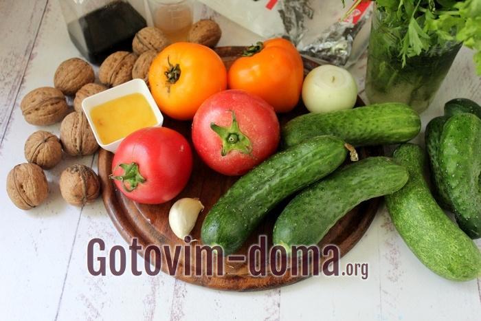 Продукты для овощного салата с ореховой заправкой
