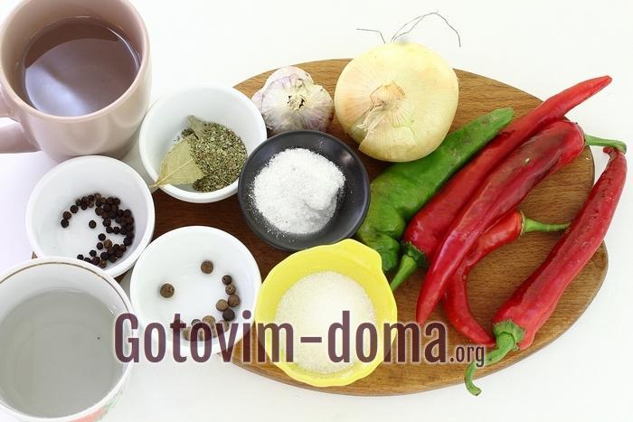 Ингредиенты на маринованный горький перец