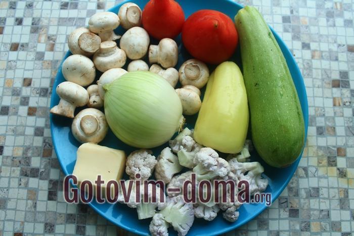 Овощи для второго блюда под сыром