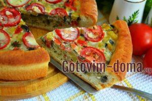 Открытый пирог с овощами из быстрого дрожжевого теста, рецепт с фото