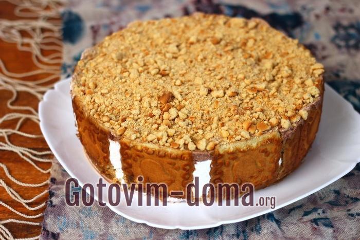Торт без выпечки из печенья с творожным и сметанным кремом, рецепт с фото