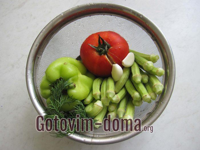 Овощи и зелень помыты для тушения