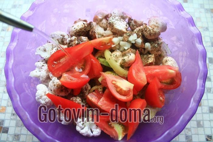 Овощи готовы для духовки