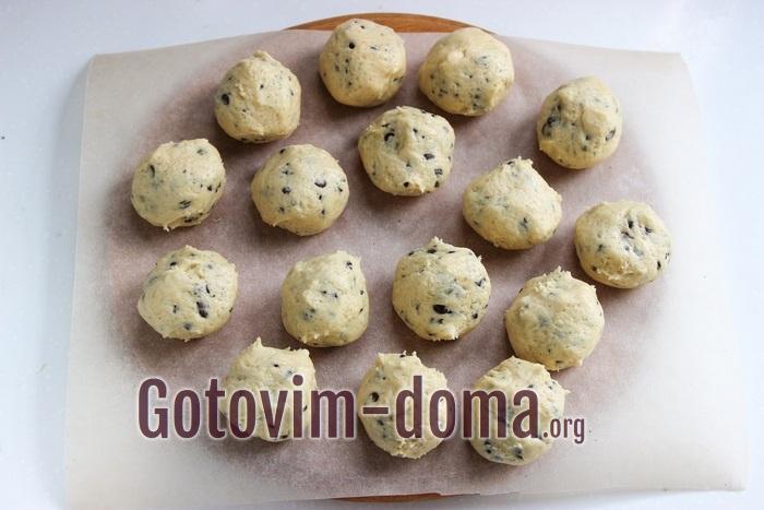 тесто шариками для американского печенья