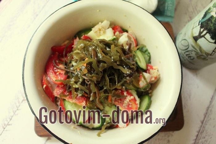 В салате маринованная морская капуста