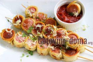 Сосиски в лаваше на шпажках, рецепт с фото