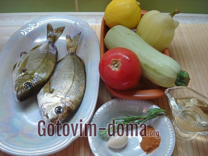 Дорадо и овощи для второго блюда.