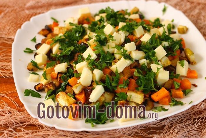 Теплый салат с баклажанами, кабачком и тыквой вкусный очень
