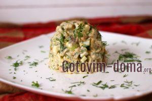 Теплый салат с печенью трески, рецепт с фото