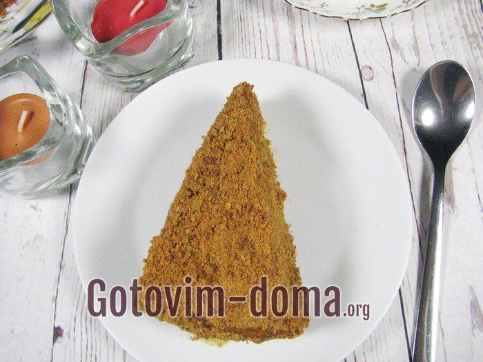 Кусочек домашнего торта Медовик