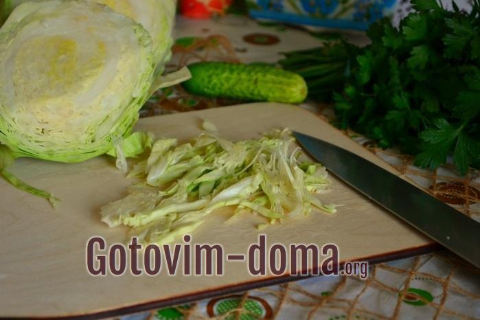 Молодую белокочанную капусту аккуратно нашинкуйте.