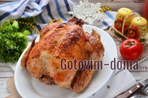 Курица запеченная в духовке целиком с яблоками.