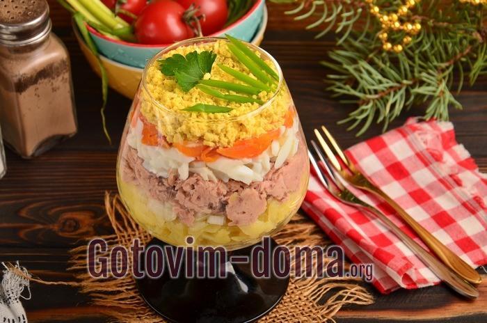 Мимоза с тунцом, салат на праздник.