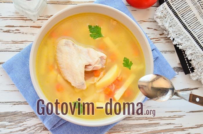Как сварить суп из крылышек куриных.