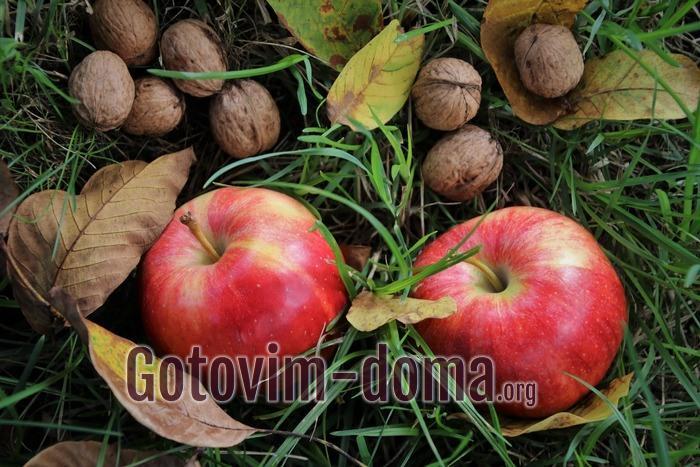 Яблоки и орехи осенью.