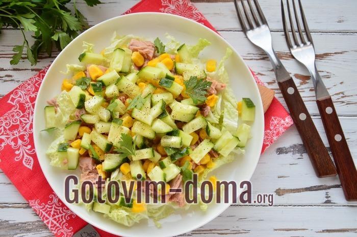 Как приготовить салат с тунцом.
