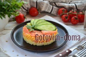 Слоеный салат из семги.