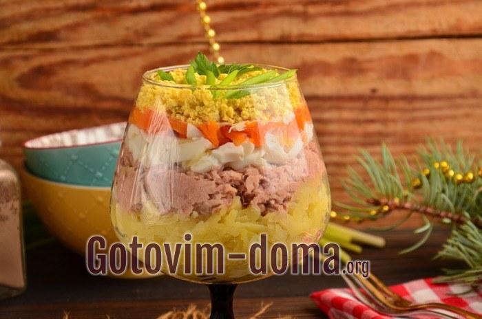 Салат Мимоза с консервированным тунцом.