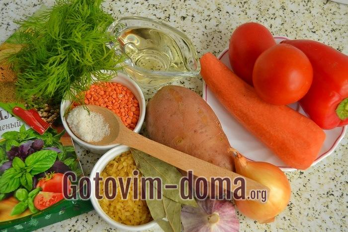 Продукты для супа с булгуром и чечевицей.