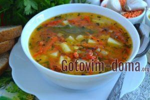Суп с булгуром и чечевицей.