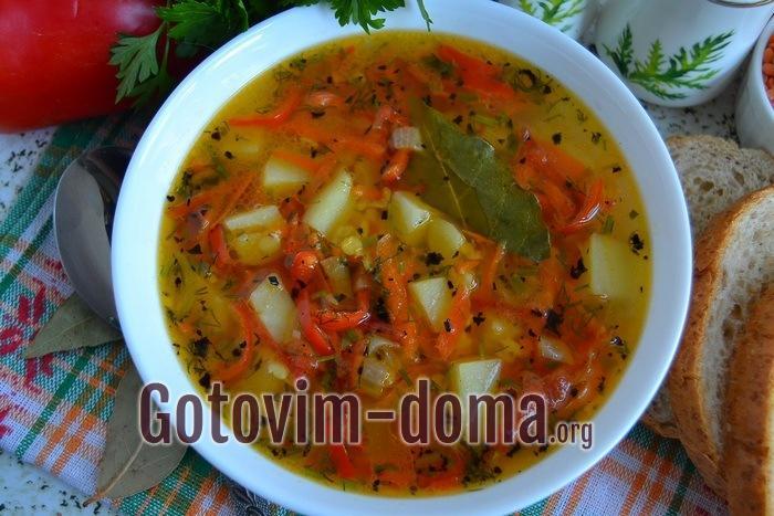 Суп с булгуром и чечевицейготов.