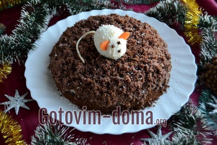 Пошаговый рецепт приготовления шоколадного торта с мышкой (крысой) на новый год.