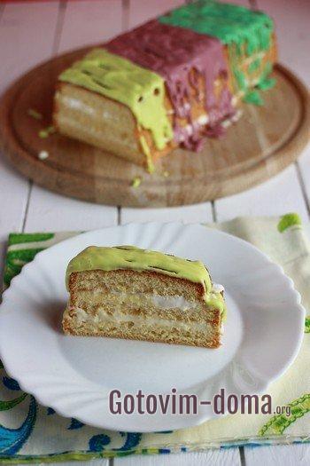 Как приготовить бисквитный торт со сметанным кремом.