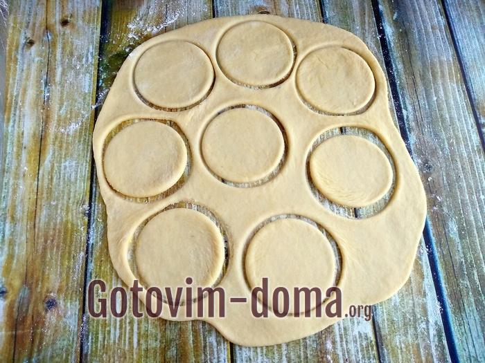 Круги для печенья на пласте теста.