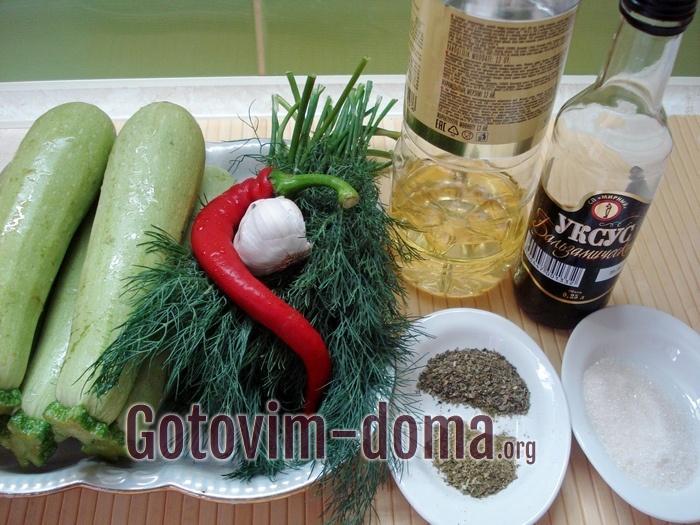 Продукты для салата из кабачков быстрого приготовления.
