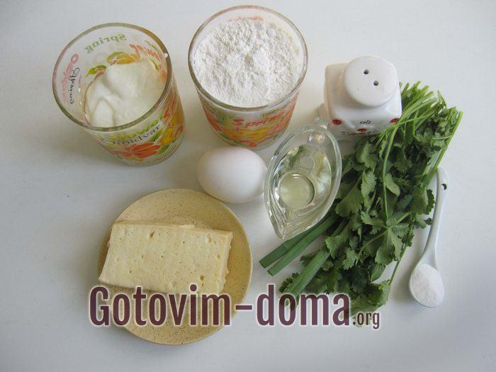 Продукты для лепешки с сыром быстрый рецепт.