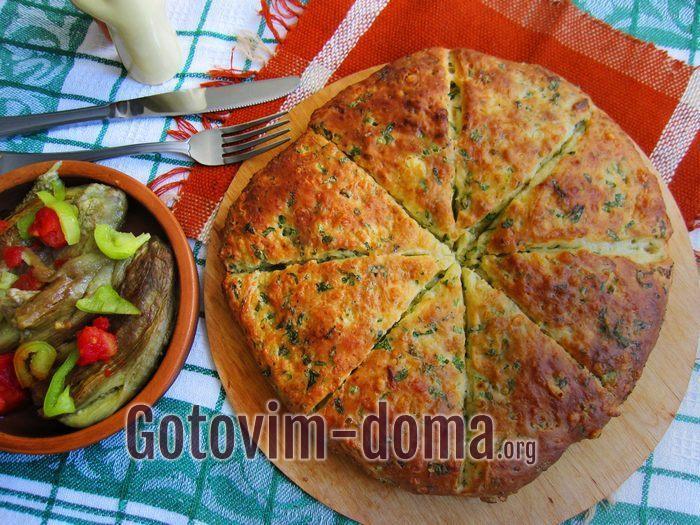 Быстрая лепешка с сыром и зеленью в духовке.
